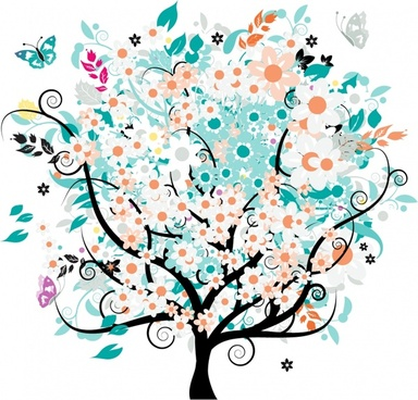 spring painting blooming tree butterflies icons colorful decor