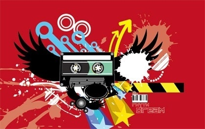 modern abstract background colorful grunge style cassette design