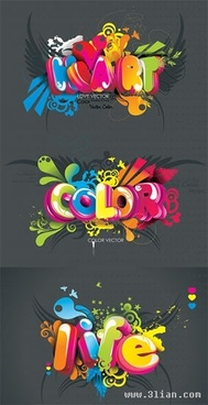 decorative texts templates colorful 3d design
