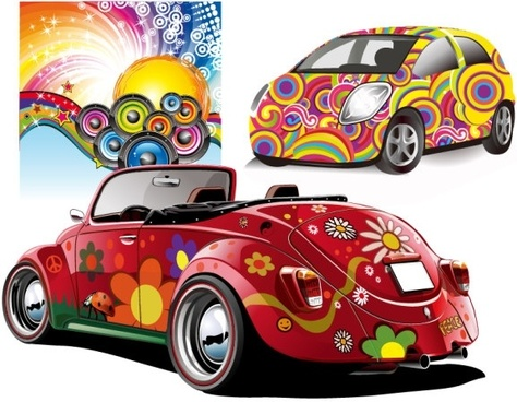 trend disco party and car vector