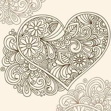 love background classical floral sketch heart layout