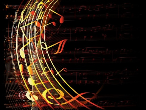 music background dark modern design notes curves ornament