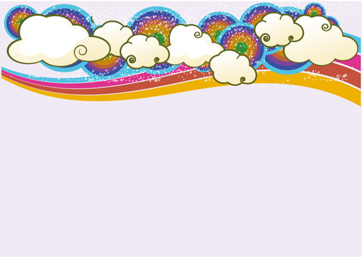 trend of cloud rainbow background vector set