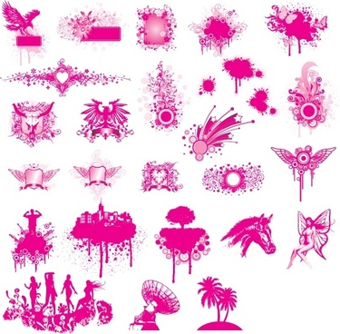 design elements collection pink silhouette symbols grunge marks