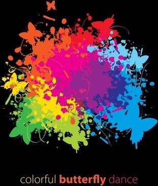 trend splash colored butterflies vector