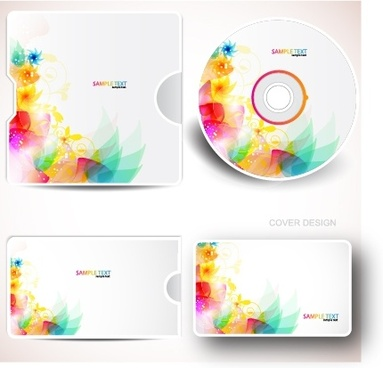 cd decor templates modern sparkling colorful botany sketch
