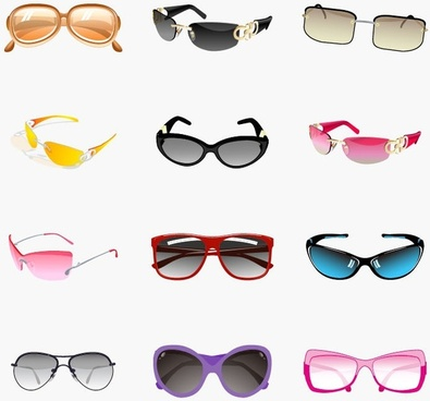 Trendy Sunglasses Vector Set