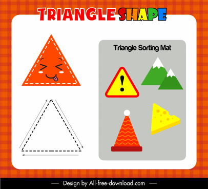 triangle educational game template colorful flat sketch