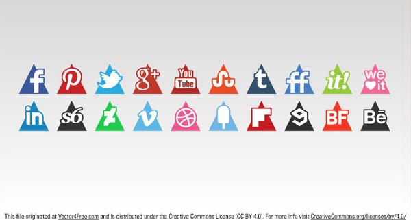 triangle social media icons set