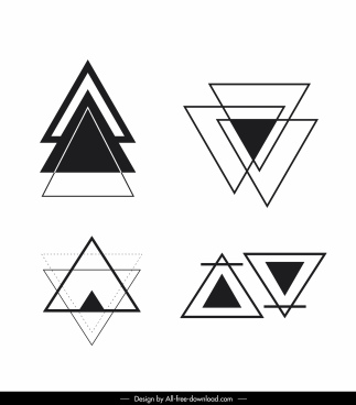 triangle tattoo template flat black white sketch