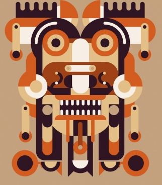 tribal abstract painting face icon geometric decor