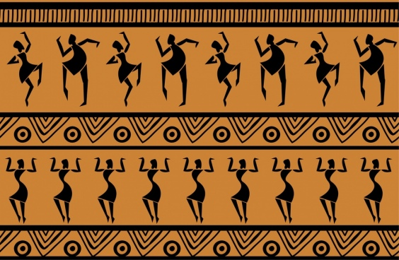 tribal decorative background dancer icons repeating design