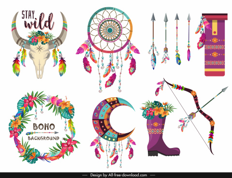tribal design elements colorful classical symbols decor