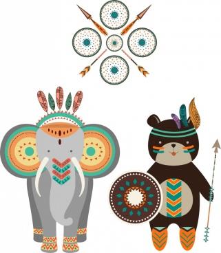 tribal design elements various boho decoration style