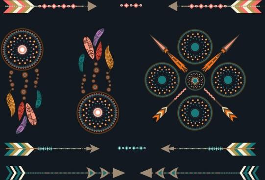 tribal design elements various boho styles