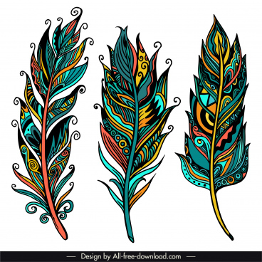 tribal feather icons colorful classical handdrawn sketch