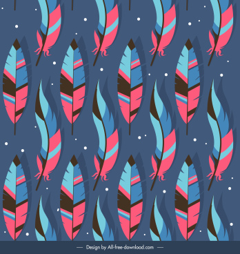 tribal feathers pattern colorful repeating symmetric decor