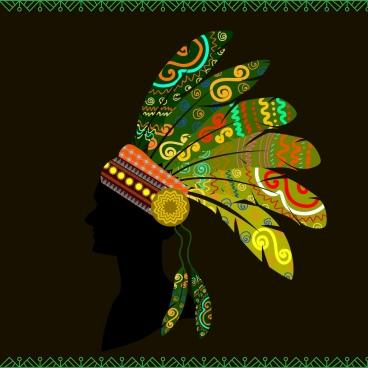 tribal human design colorful boho silhouette style
