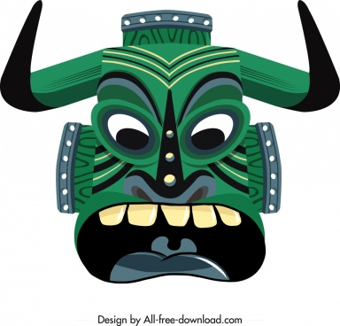 tribal mask icon horror angry face design