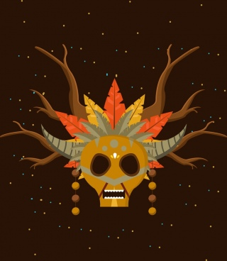 tribal mask icon scary style skull horns icons