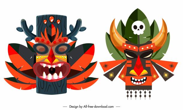 tribal mask icons colorful classic symmetric decor
