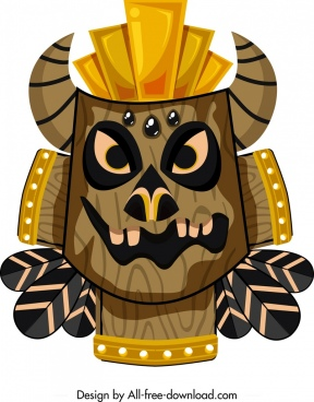 tribal mask template horror face design