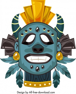 tribal mask template scary face decor colorful design