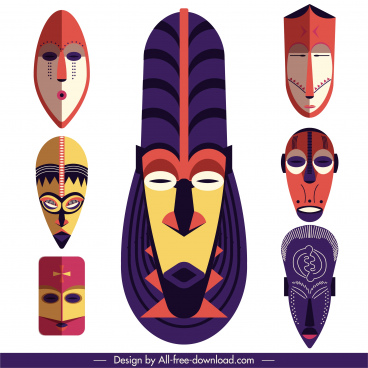 tribal mask templates colorful retro symmetric design