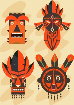 tribal masks icons collection horror design