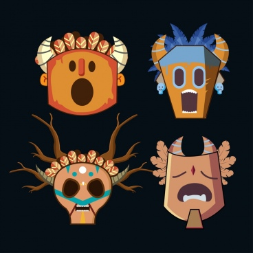 tribal masks icons collection various scary types