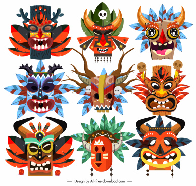 tribal masks icons colorful horrible faces sketch