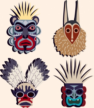 tribal masks icons scary colorful types isolation