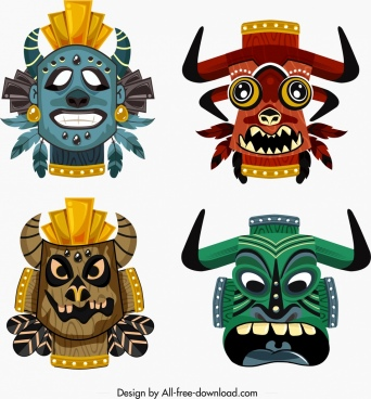 tribal masks templates colorful horror faces decor