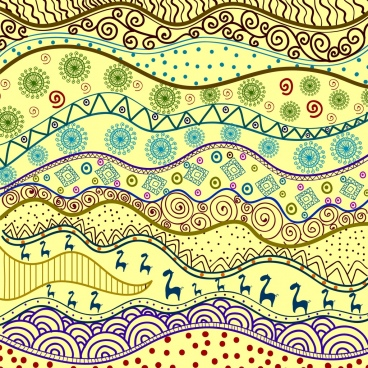 tribal pattern background bright colorful curves design