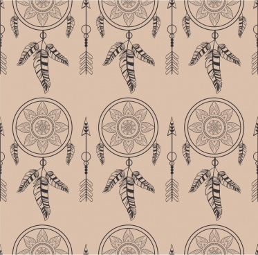 tribal repeating pattern design dream catcher decoration