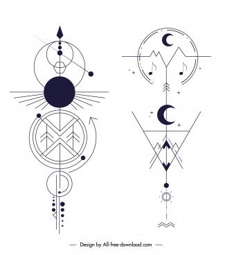 tribal tatoo templates flat classic geometrical shapes