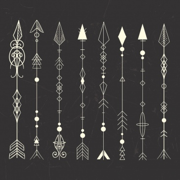 tribal tattoo design elements classical arrows icons