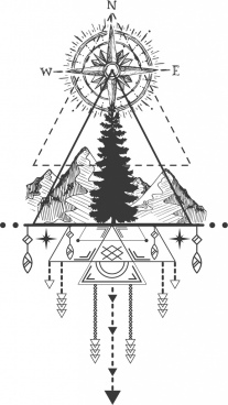 tribal tattoo template compass mountain icons symmetric design