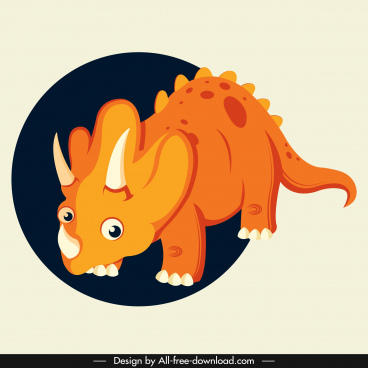 triceraptor dinaosaur icon cute cartoon character orange design