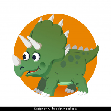 triceraptor dinosaur icon cute cartoon character sketch