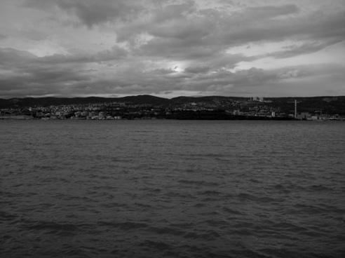 trieste sea black and white
