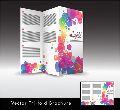 trifold brochure design with colorful hexagon illustration