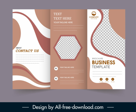 trifold brochure template elegant brown white checkered decor