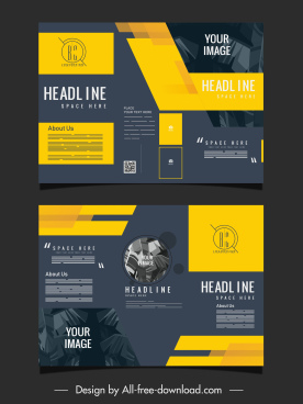 trifold brochure template elegant dark design leaves decor