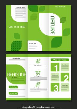 trifold brochure template elegant green bright decor