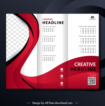 trifold brochure template modern bright abstract checkered curves decor