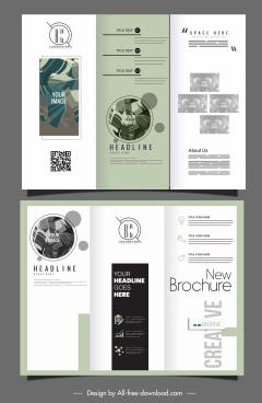 trifold brochure templates elegant classical leaves decor