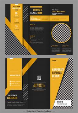 trifold brochure templates elegant dark black yellow checkered