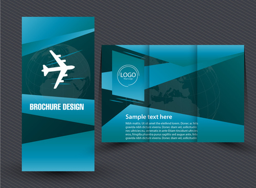 trifold leaflet design with earth vignette background