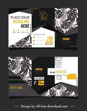 trifold leaflet template elegant dark leaves decor